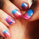 Ombre nails, Sponge& watermarbling