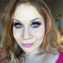 Bright Red & Electric Pink Glittery Halo Eye Makeup