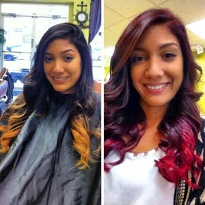 Brunette to blonde Ombre - Red Violet (Burgandy) to Red Ombre