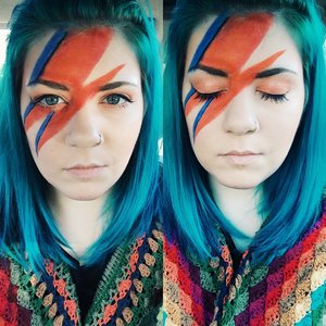 """Quick David Bowie Aladdin Sane look I did for Halloween at work. :) Eyeshadow is """"Shell"""" from the Lime Crime Venus Palette."""