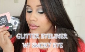 Red Carpet Spunk- Dramatic Winged Glitter Eyeliner with Smoky Eye tutorial