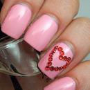 Crystal Heart Valentines Mani