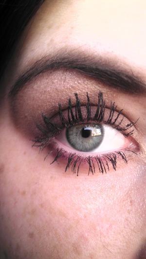 I use milani eyebrow kit, vs eyeshadow, chanel mascara on the top eyelashes and great lash from maybelline on bottom lashes.