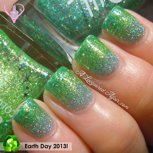 Green glitter gradient mani for Earth Day, using: - Orly Sparkling Garbage - Canmake #23 Kiwi Green - Estessimo TiNS 034 The Holiday Cheer.  More on the blog: http://www.alacqueredaffair.com/Earth-Day-2013-29730050