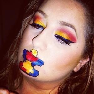 Makeup look for autism awareness