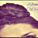 Simple, Off-Center Topknot with a Four(4) Strand Braid Wrap-Around Tutorial