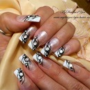 Black Tie Event Nails Black and white