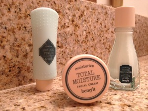 Travel size skin care products by Benefit