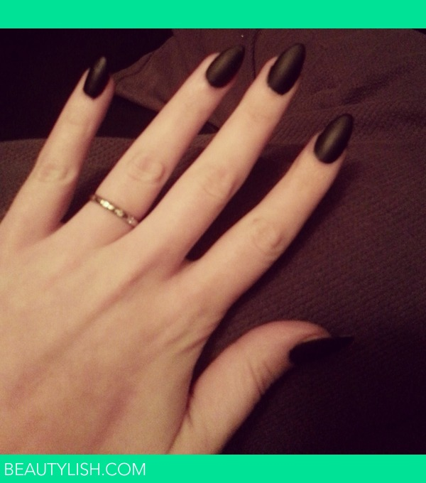 Matte Black Stiletto/Almond Nails! DIY | Rikki C.\'s Photo | Beautylish