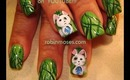 crazy looking emo bunnies on green green grass design: robin moses nail art tutorial