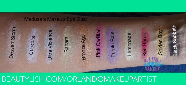 Medusa's Makeup Eye Dust swatches on medium tan / olive skin, available at http://www.OrlandoAirbrushMakeup.co... serving the Orlando and Miami markets.