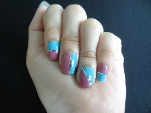 Hi! I tried using nail tape for the first time. I thought the colors go well together and it fits summer season (: I have a video on how I did it (: