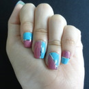 Blue and pink color blocking nails with nail tape!