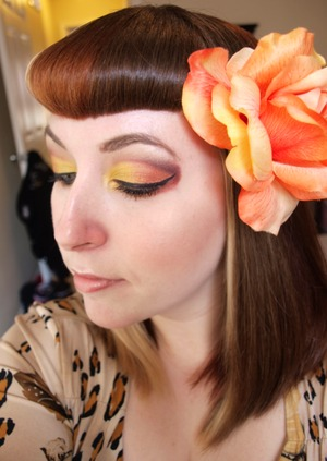 Fall Is Here! Yellow and Orange with a Maroon Cut Crease, home made hair flower