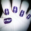 purple nails with lavender dots and gems...hard to tell color of dots and gems in pic :(