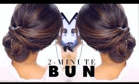 2 Minute Elegant BUN Hairstyle ☆ EASY Updo Hairstyles