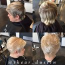 Blonde with silver highlights.