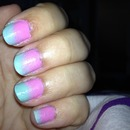 baby pink and blue ombre nails