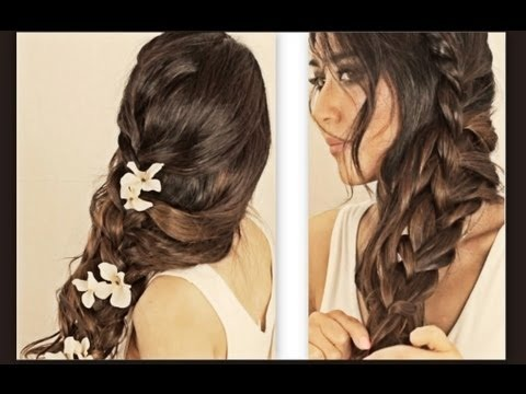 Hair Tutorial Hairstyles With Curly Messy Braid Ponytail For Medium Long Hair Updos Peinados Makeupwearables Hairstyles Hair Tutorial On Thursdays Video Beautylish
