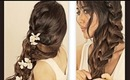 ★HAIR TUTORIAL: HAIRSTYLES WITH CURLY, MESSY BRAID PONYTAIL FOR MEDIUM LONG HAIR | UPDOS  peinados