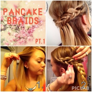 I've got tons of requests to do a tutorial of these pancake braids and now I finally got to it!! Sorry it took so long! Anyways, this is the 1st part of the 2 photo collages. More spesific instructions are in the comment box.