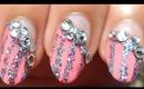 New Years Delicate Side Swipe Hime Gyaru Nails