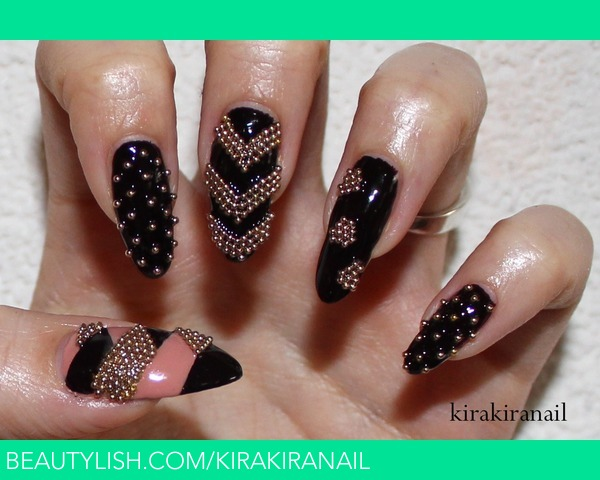 Edgy Microbead Nail Design Kirakiranail Ks Kirakiranail Photo
