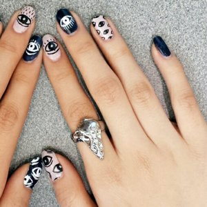 Hand painted evil eye nails by me.  Follow me for more nailart at instagram.com/nailsbynamja