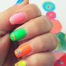 Neon Moutaches Nails