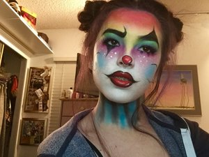Have to do a Halloween makeup for my school yearbook so I did a rendition of a youtuber's clown