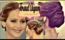 JENNIFER LAWRENCE HAIR TUTORIAL | FORMAL CHIGNON BUN UPDO FOR LONG HAIR |PROM WEDDING HAIRSTYLES