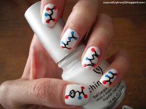 """Can anyone guess which amino acids are on my nails? Hint: this hand spells out """"NERDY""""!"""
