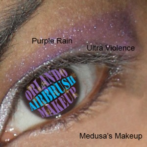 Medusa's Makeup Purple Rain (crease) & Ultra Violence (lid), available at http://www.OrlandoAirbrushMakeup.com, serving the Orlando and Miami markets.
