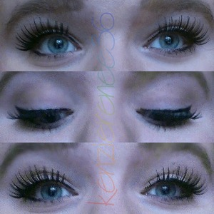 Natural face with false lashes and winged liner.