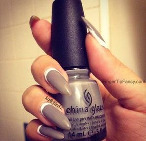 DETAILS HERE - http://fingertipfancy.com/grey-nails-white-cuticle