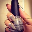 Grey nails with white cuticle