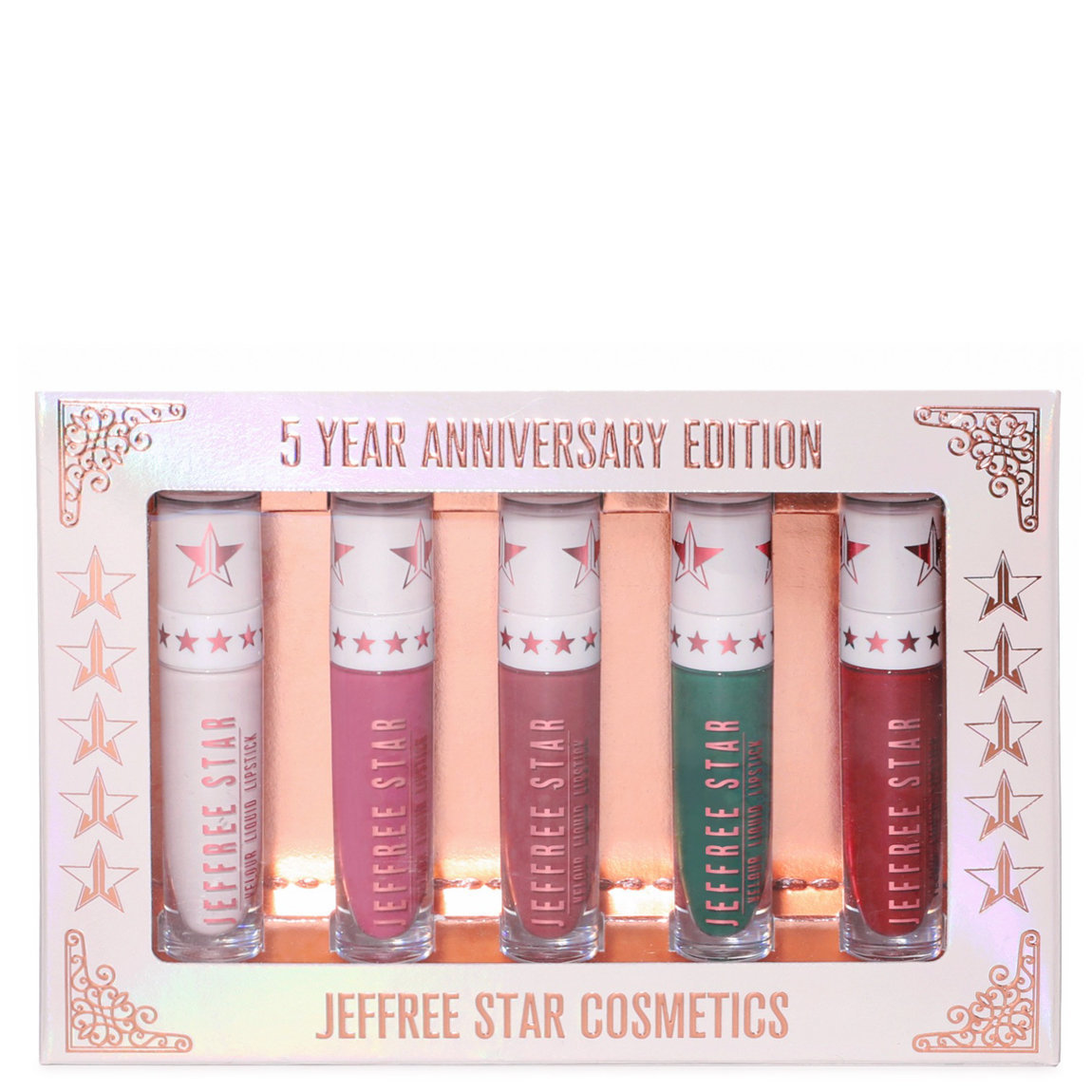 Jeffree Star Cosmetics 5 Year Anniversary Velour Liquid Lipstick Bundle product swatch.