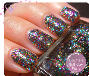 A swatch of Daphne's Birthday Party by Pretty Serious (pretty-serious.com) - a multi-coloured glitter bomb to celebrate their 1st year anniversary.  Review and more photos on my blog: http://www.alacqueredaffair.com/Pretty-Serious-Daphnes-Birthday-Party-30499435