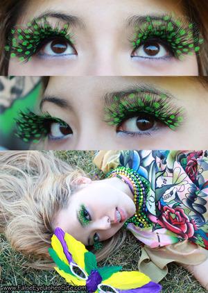 Wearing Elegant Lashes F040 Feather Eyelashes http://falseeyelashessite.com/blog/2012/02/17/festive-color-and-feather-false-eyelashes-for-mardi-gras/