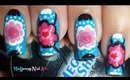 Flowers Hearts on Turquoise Nail Art / Diseño Flores y Corazones