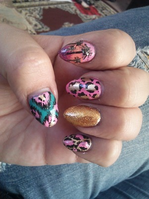 gold glitter, ikat, palm trees&leopard
