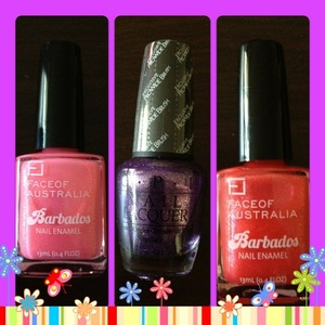 Im excited to use my new nail polishes!  2x Barbados, Face of Australia 1 x Opi nail polish in purple