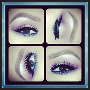 I like to use navy blues or teals to add a fun element of color that compliments my eyes. This is a great way to do it but keep it fairly natural!!!