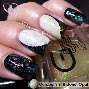 Opal-inspired manicure for October's birthstone theme. More on the blog: http://www.alacqueredaffair.com/Opal-inspired-Manicure-32204436