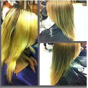 One of my clients with grown out highlights turned Into natural base color with subtle ombré