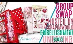 Scrapdaworld Essence of Valentine Embellishment Box, Valentines Day Embellishment Box Group Swap