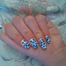 Blue And White Leopard Nails