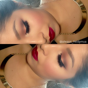 Fall look Deep red lipstick Mac ruby woo and rebel on lips