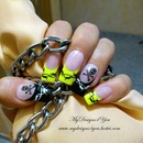 Neon & Black Skull & Barbed Wire Nails