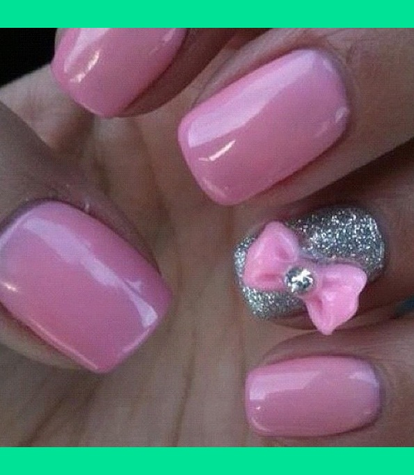 Barbie Pink Nails With Bow Accent Nail Stephanie Ks Kennedy